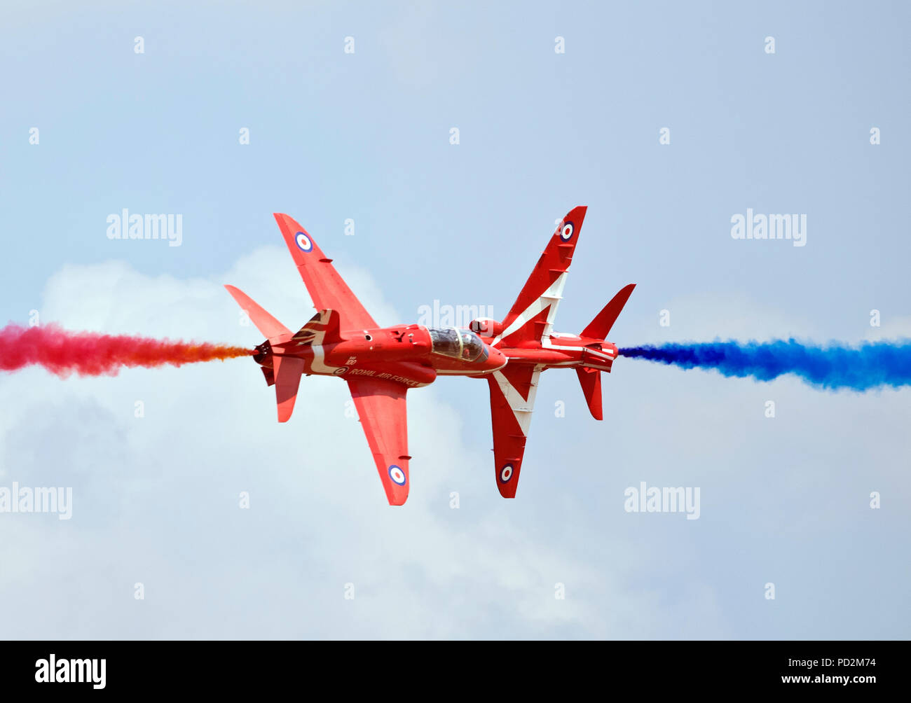 Pair Red Arrows displaying at RAF RIAT air show, Fairford 2018 - Stock Image