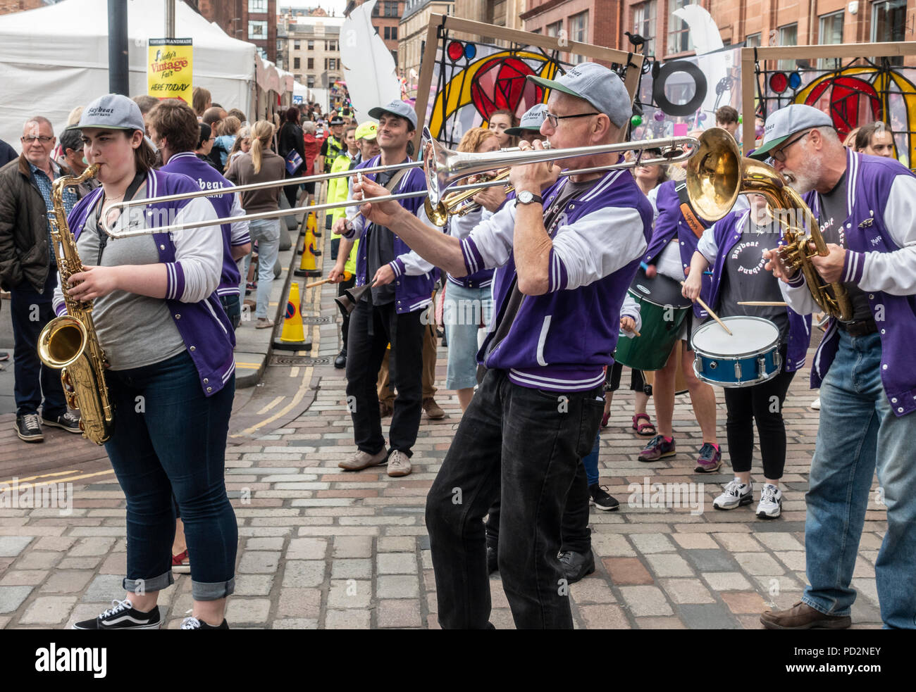 The Baybeat Street Band from Morecombe performing in the Carnival Procession of the Merchant City Festival: part of Festival 2018, Glasgow - Stock Image
