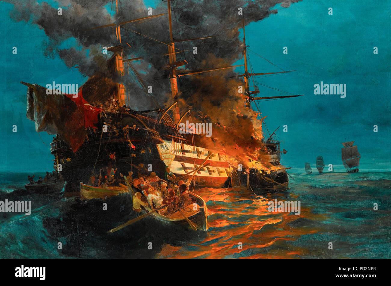 The burning of a Turkish frigate - Konstantinos Volanakis - Stock Image