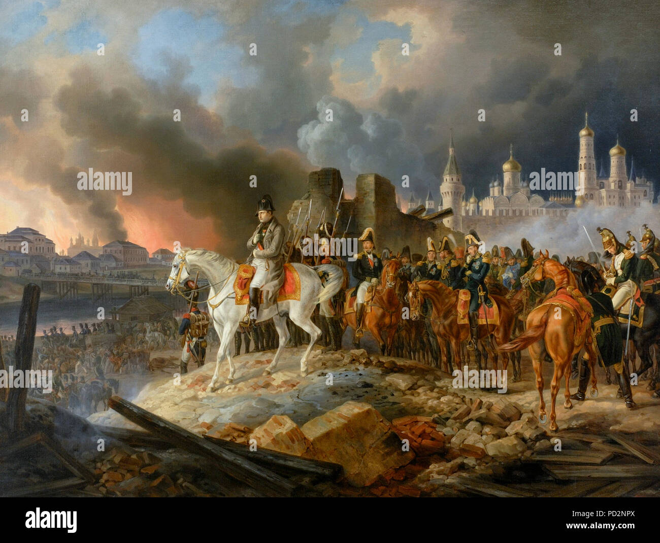 Napoleon in burning Moscow - Adam Albrecht (1841) - Stock Image
