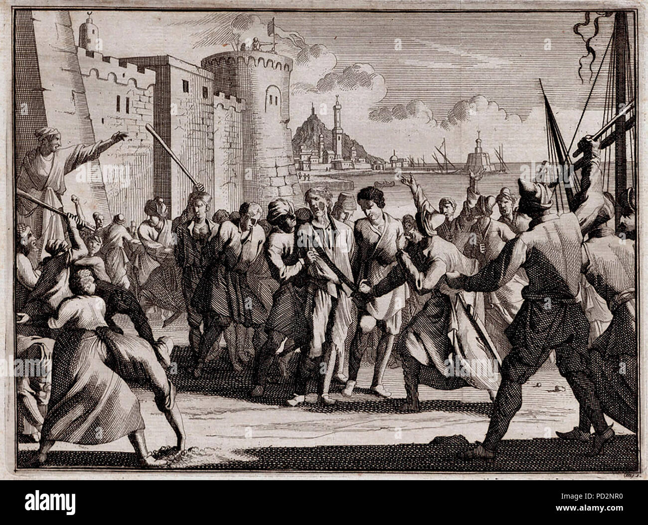 Disembarkation and mistreatment of prisoners in Algiers, 1706 - Stock Image