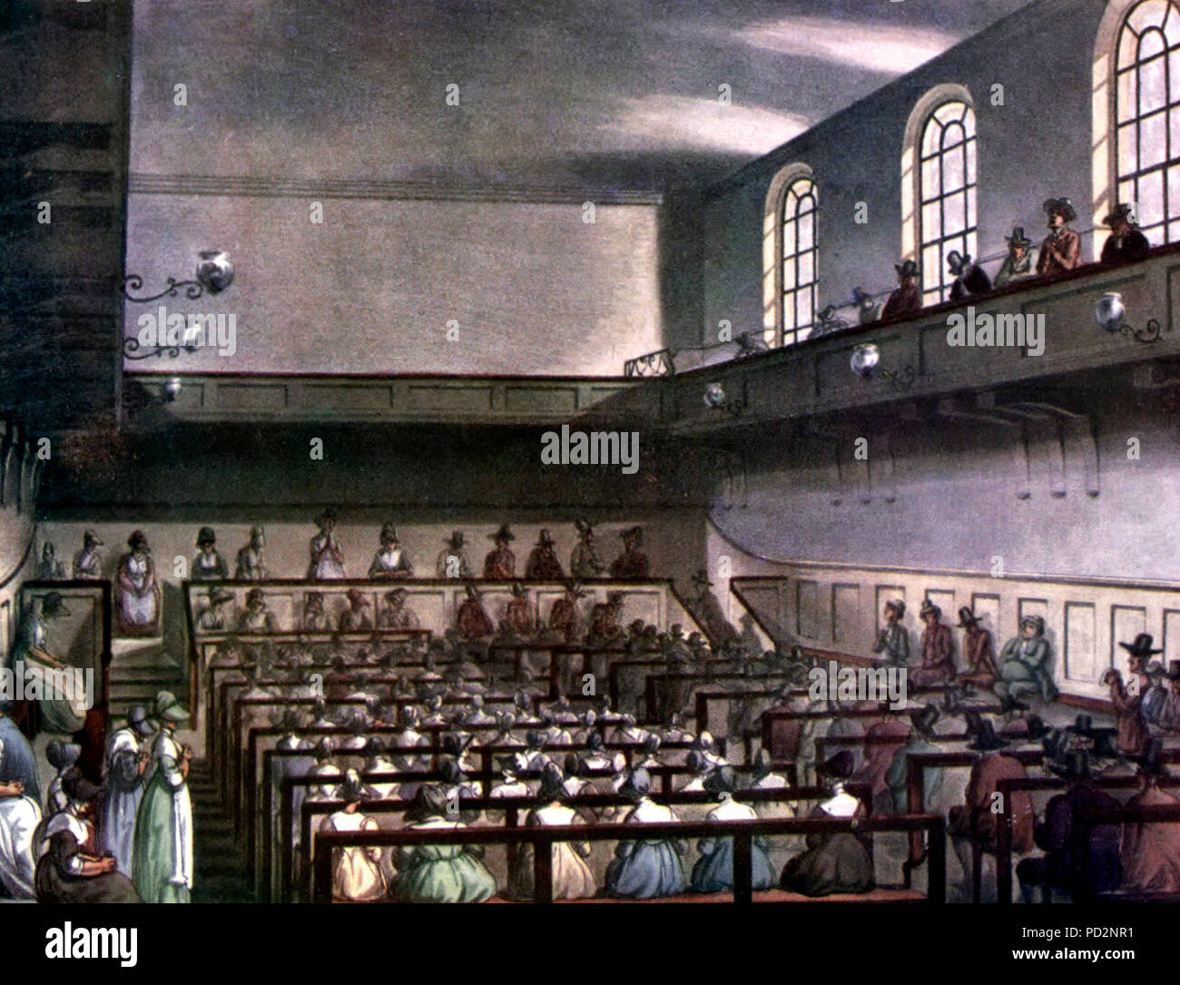 Conservative Friends worshipping in London in 1809. Friends are in traditional plain dress. At the front of the meeting house, the Recorded Ministers sit on a raised ministers' gallery facing the rest of the meeting, with the elders sitting on the bench in front of them, also facing the meeting. Men and women are segregated, but both are able to minister. - Stock Image