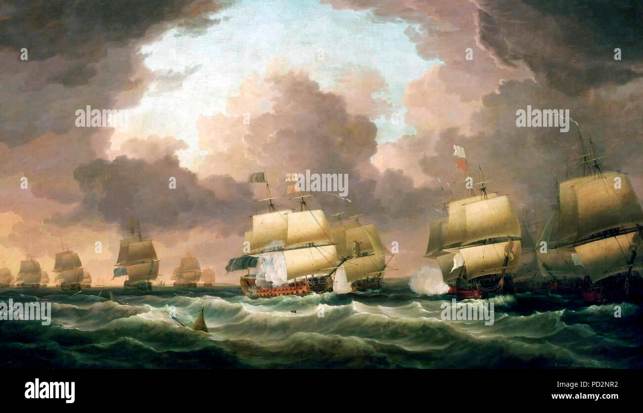 The Battle of Quiberon Bay, 20 November 1759 - Dominic Serres, 1779. The Battle of Quiberon Bay was the most decisive naval encounter during the Seven Years War, 1756-63, a conflict involving the major European colonial powers and fought around the globe. France had been at war with Britain since 1756, her position in Canada, India and the West Indies was on the point of collapse and in Europe she faced stalemate against Prussia, which received British support. The battle resulted in the destruction of the French Brest fleet and occurred when the French broke out of the five-month English bloc - Stock Image