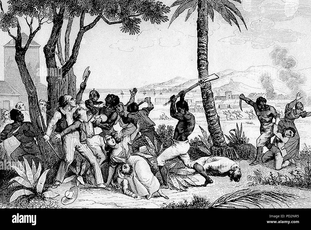 Slave rebellion of 1791 - Burning of the Plaine du Cap - Massacre of whites by the blacks'. On August 22 1791, slaves set fire to plantations, torched cities and massacred the white population. - Stock Image
