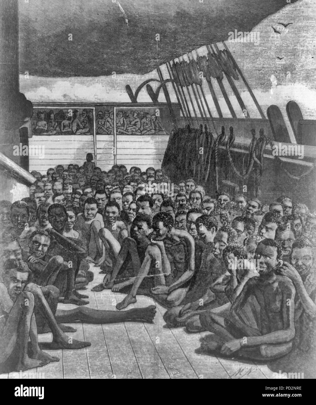 The Africans of the slave bark 'Wildfire'--The slave deck of the bark 'Wildfire,' brought into Key West on April 30, 1860 - African men crowded onto a lower deck; African women crowded on an upper deck. - Stock Image