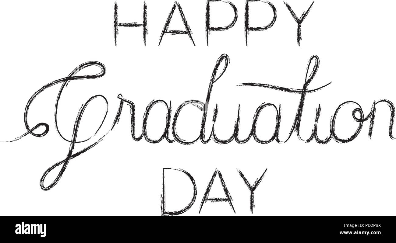 graduation message with hand made font - Stock Image