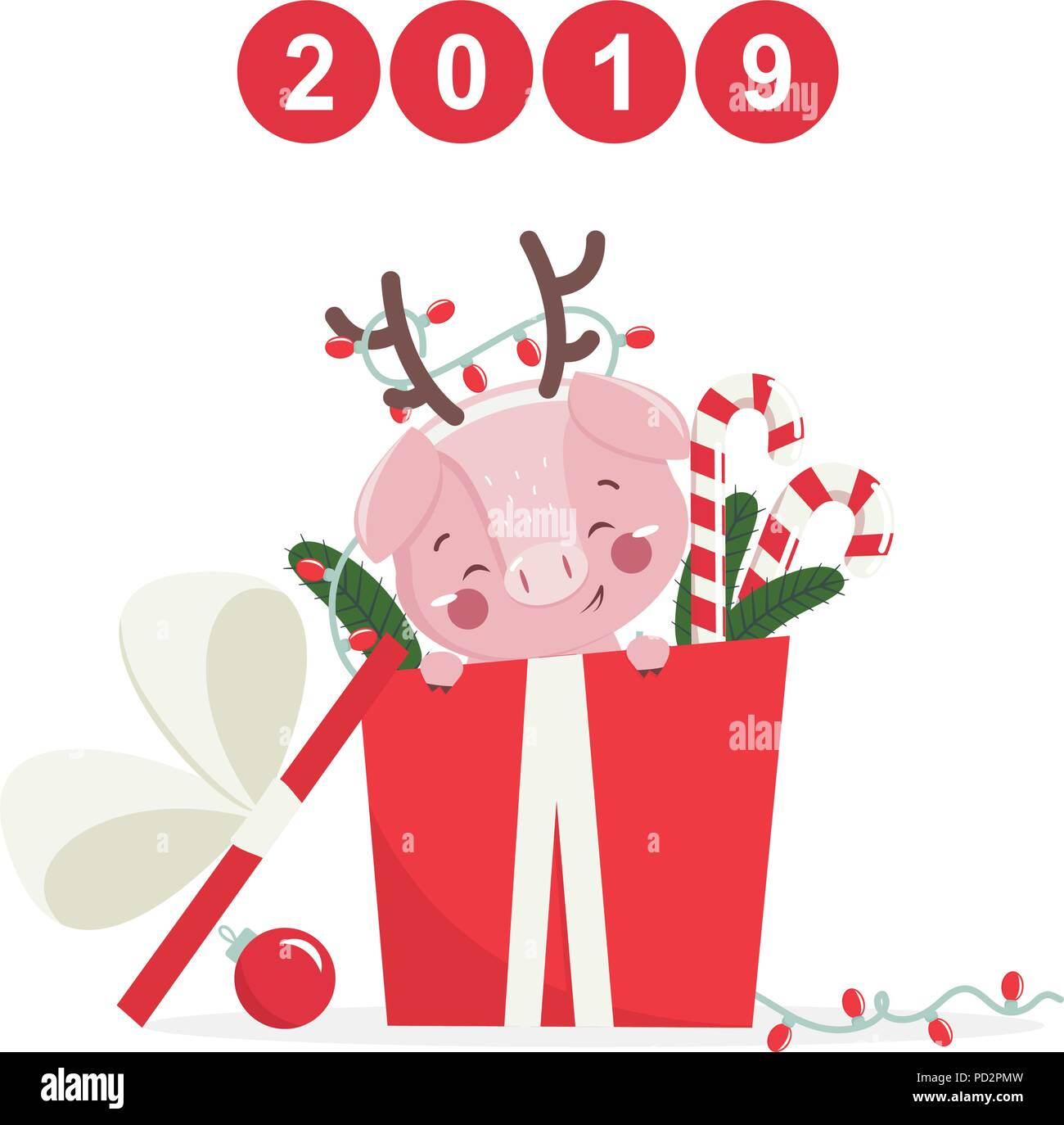 happy new year greeting card with cute pig chinese symbol of the 2019 year design for print poster invitation t shirt vector illustration