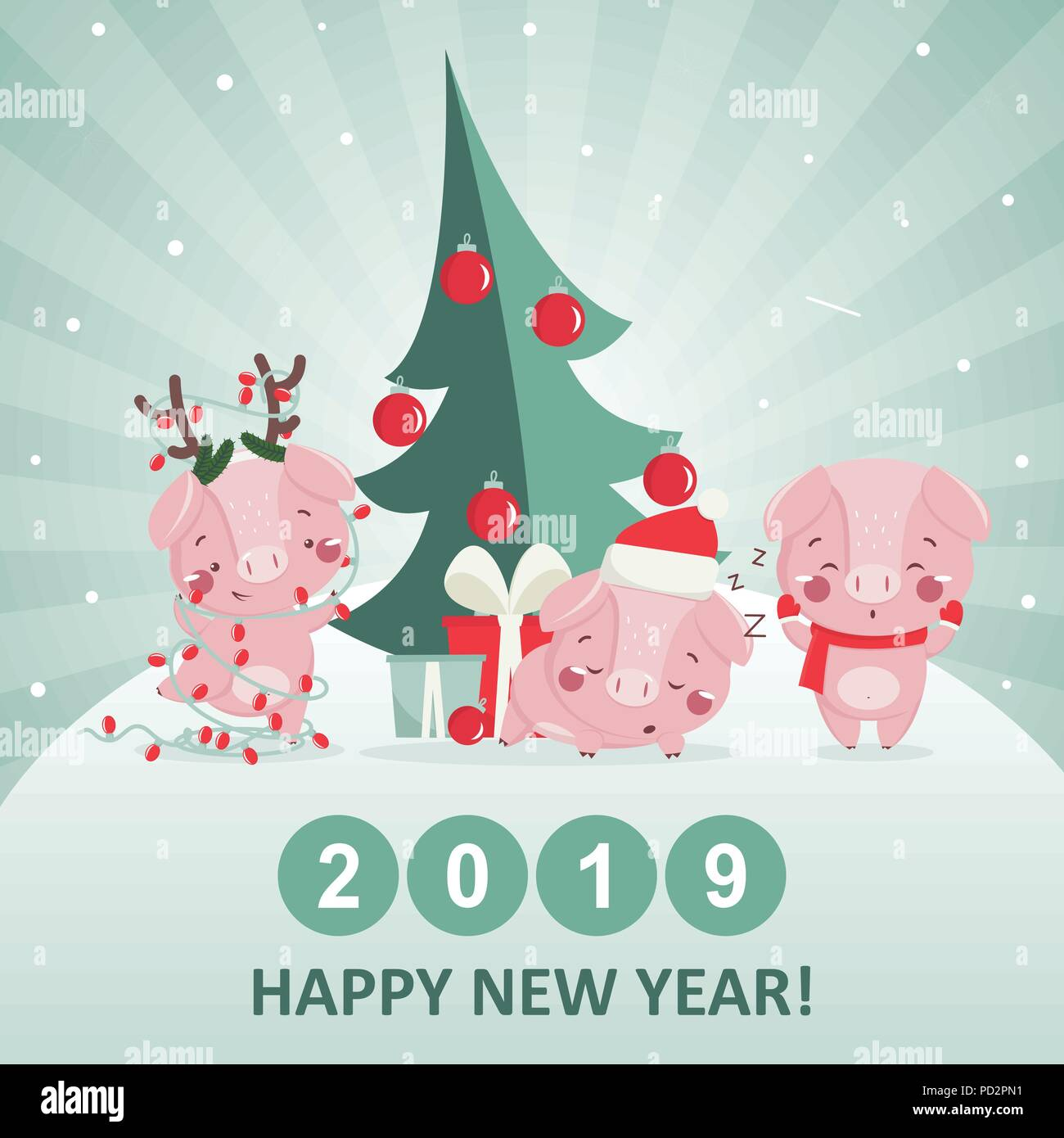 Happy new year greeting card with cute pig. Chinese symbol ...