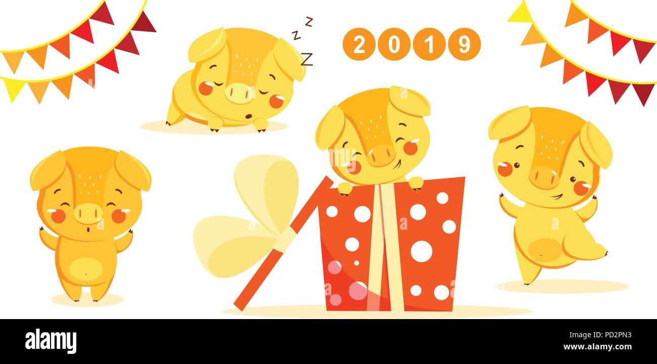 Happy New Year Set With Cute Yellow Pig Chinese Symbol Of The 2019