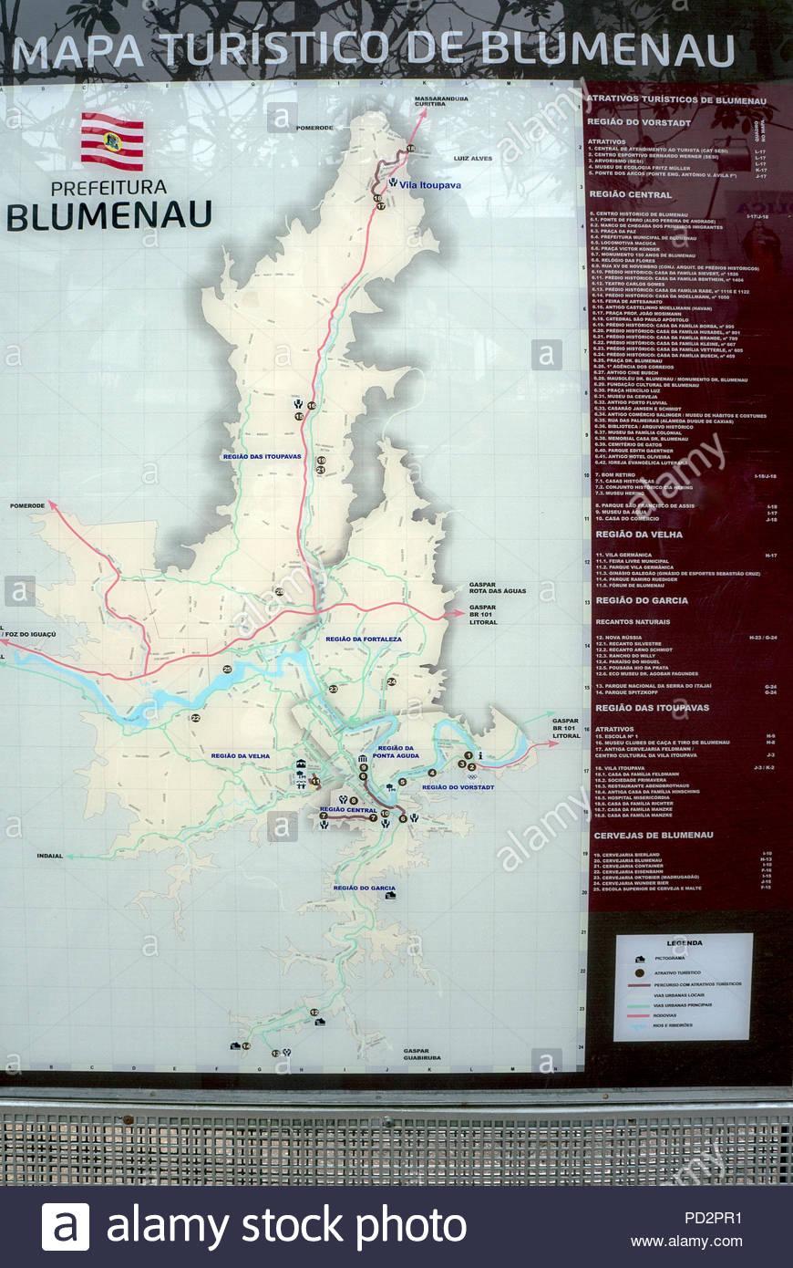 map city Blumenau Brazil localization attraction information - Stock Image