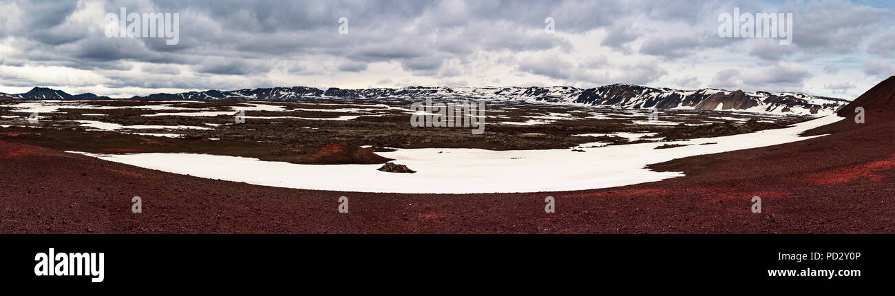 Panoramic view of caldera field - Stock Image