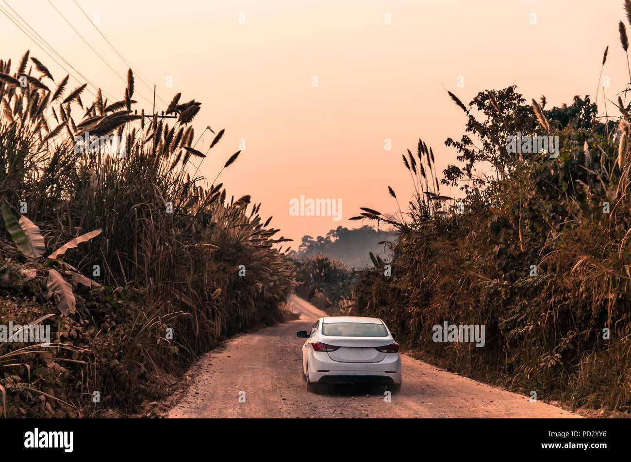 Road trip between Vietnam and Laos - Stock Image