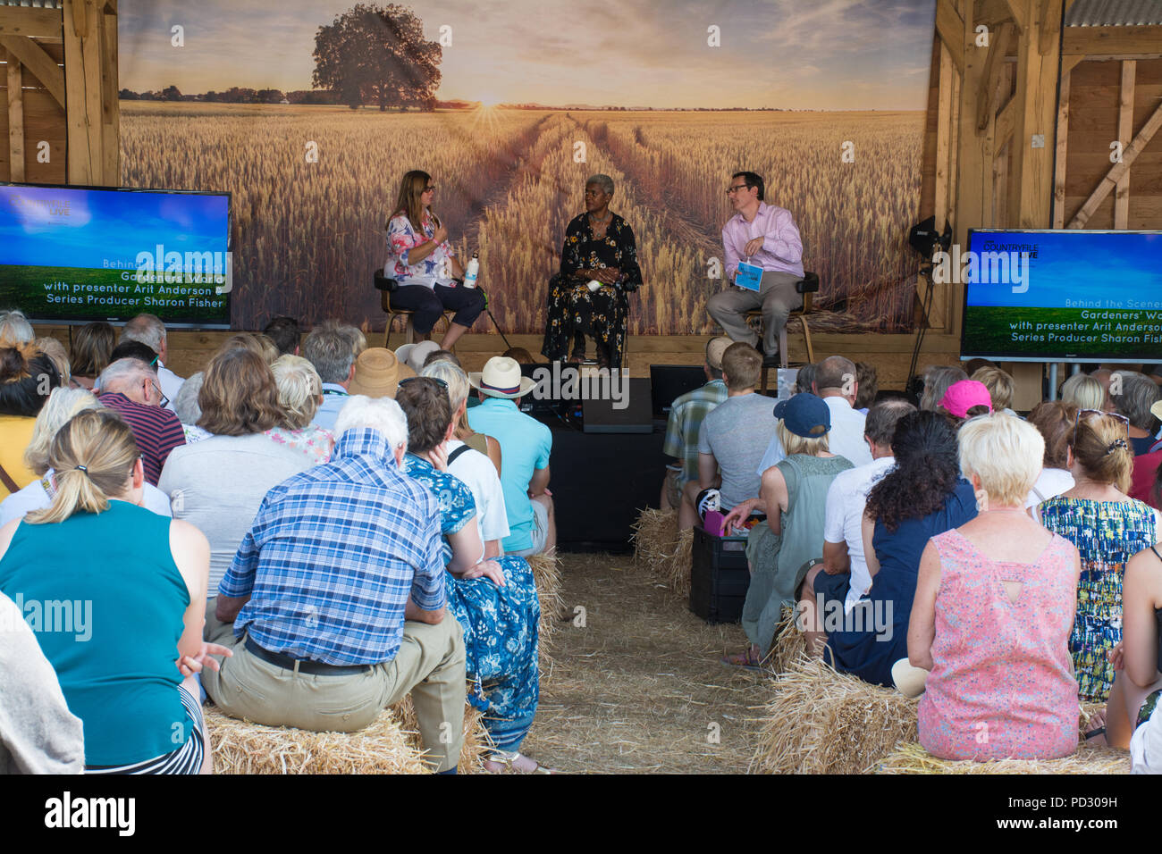 Audience watching on stage discussion with Gardeners World presenter Arit Anderson at Countryfile Live 2018 show at Blenheim Palace, Oxfordshire, UK - Stock Image