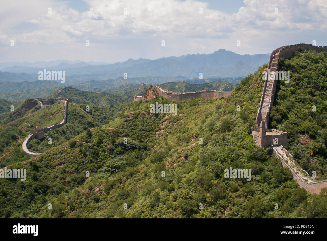 The Great Wall of China at Jinshanling, a popular hiking route and one of the best preserved parts of the Great Wall with many original features. - Stock Image