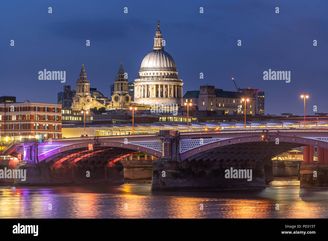 St paul cathedral with river thames sunset twilight in London UK. - Stock Image
