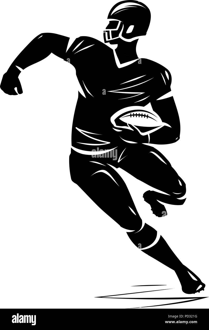 Football player, silhouette. Vector illustration - Stock Vector