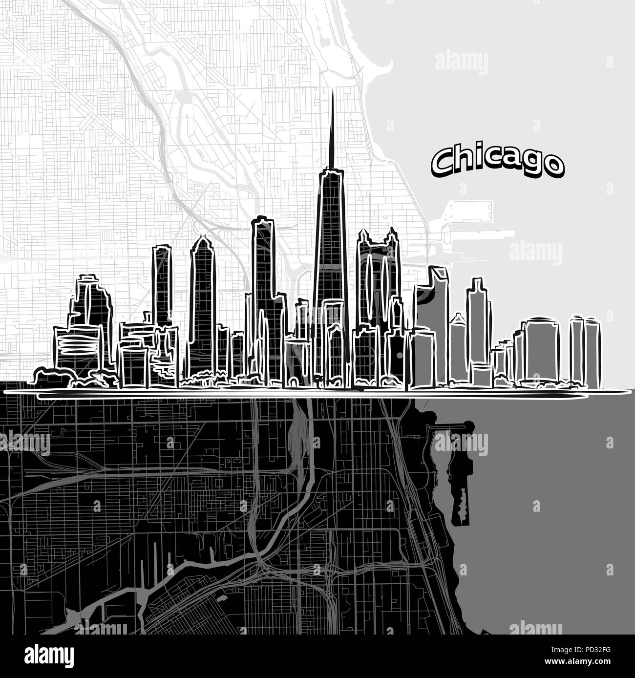 Vector drawing of Chicago skyline with map. USA travel landmark ...