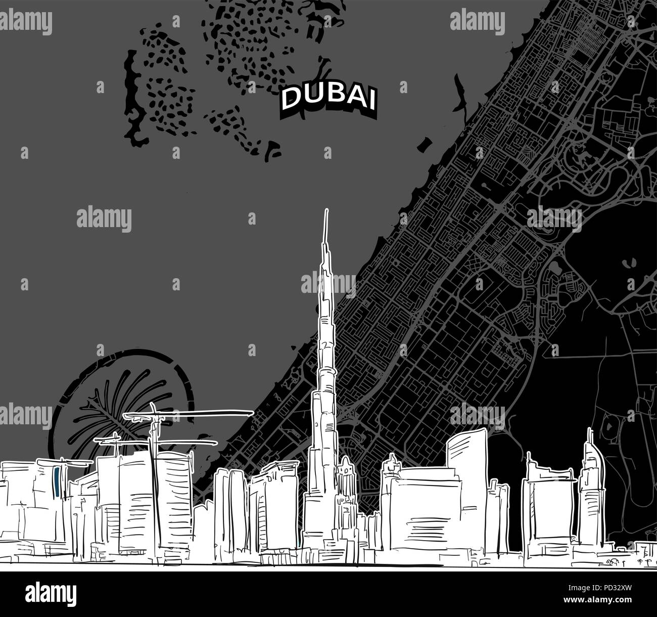 Hand drawn sketch of Dubai food. Vector drawing of skyline with map, United Arab Emitates. Black and white illustration concept. - Stock Image