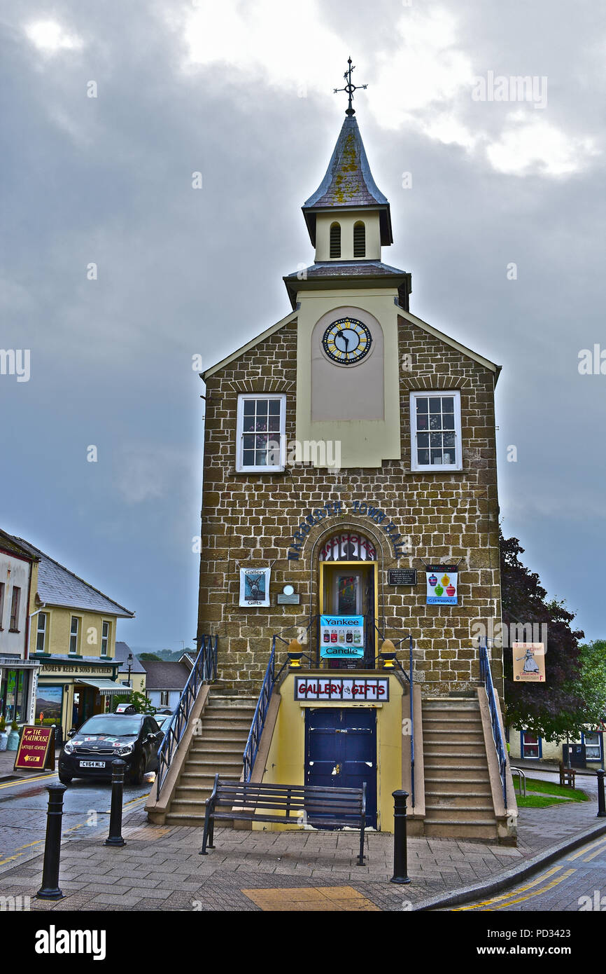 Narberth Old Town Hall ,is now a thriving arts & crafts centre in the middle of this well-to-do country town in Pembrokeshire.Wales Stock Photo