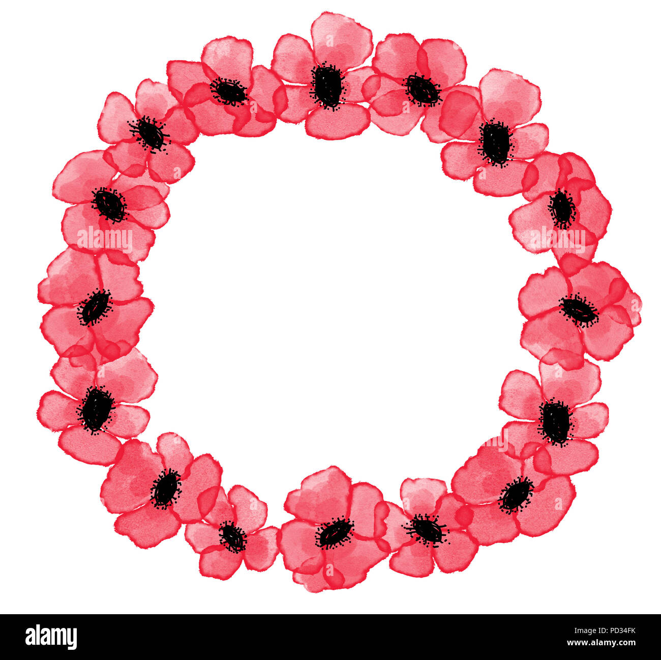 Digital Watercolor Red Poppies Wreath On White Background Symbol Of