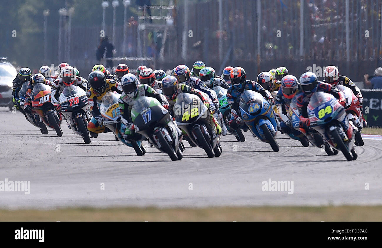 Start of the Grand Prix of the Czech Republic 10th Road Motorcycle World Championship event in the  Moto2 category in Brno, Czech Republic, August 5, 2018. (CTK Photo/Lubos Pavlicek) - Stock Image