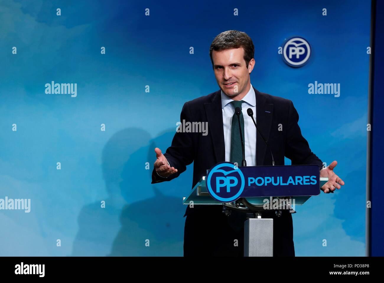 Madrid, Spain  06th Aug, 2018  Leader of Spanish People's
