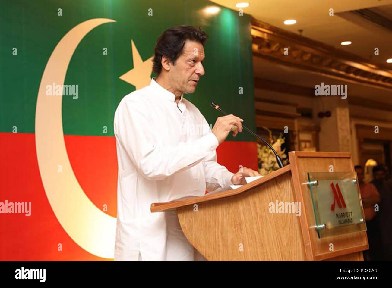 Islamabad, Pakistan  6th Aug, 2018  Imran Khan, chairman of