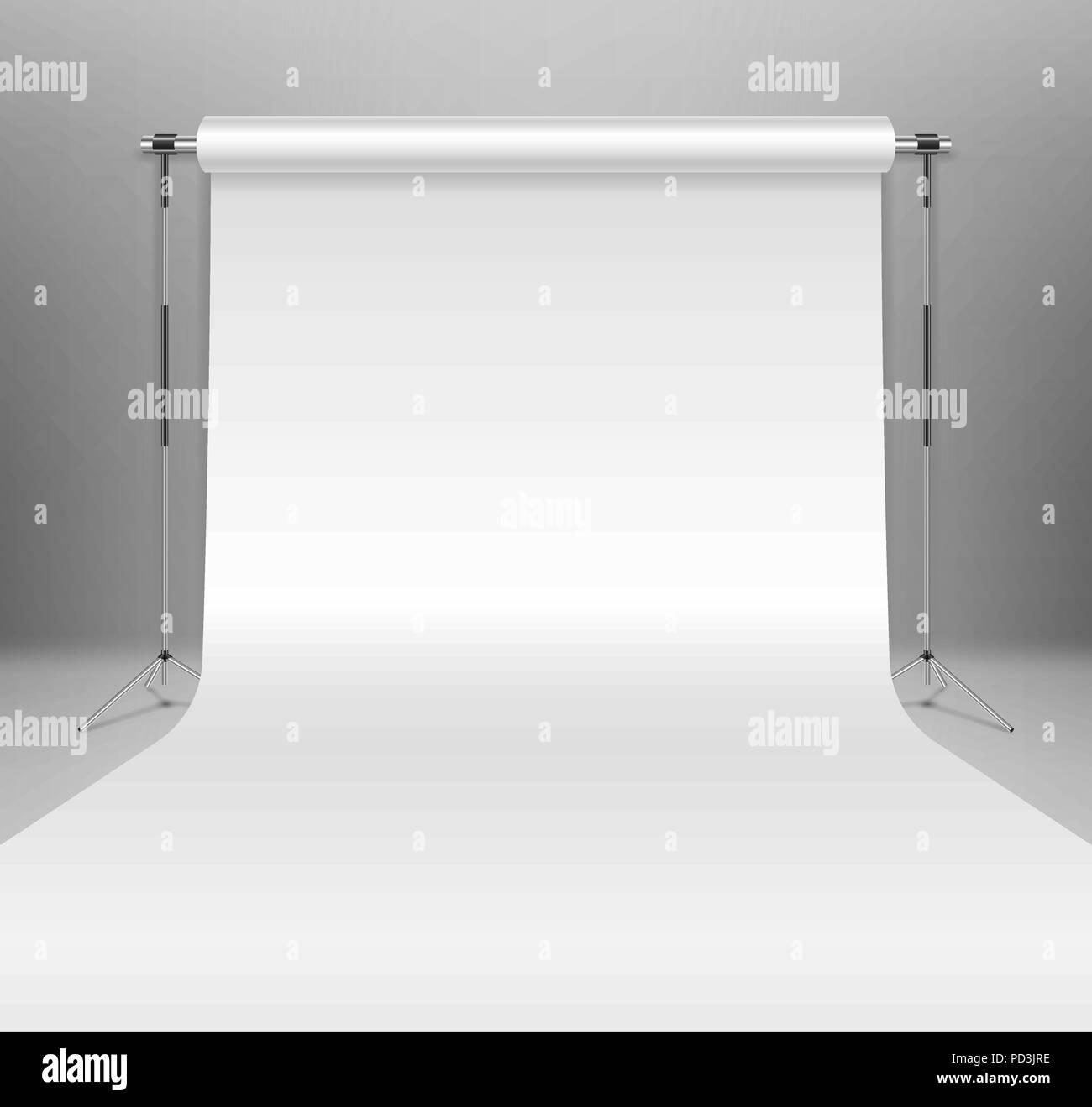 Realistic empty white photo studio backdrop template. photographer studio backdrop stand with white paper on Gray background. Vector illustration. - Stock Vector