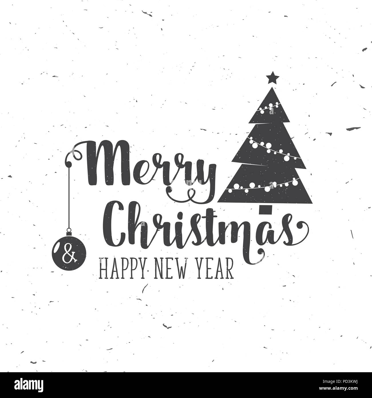 Merry Christmas and Happy New Year 2017 typography. Vector ...