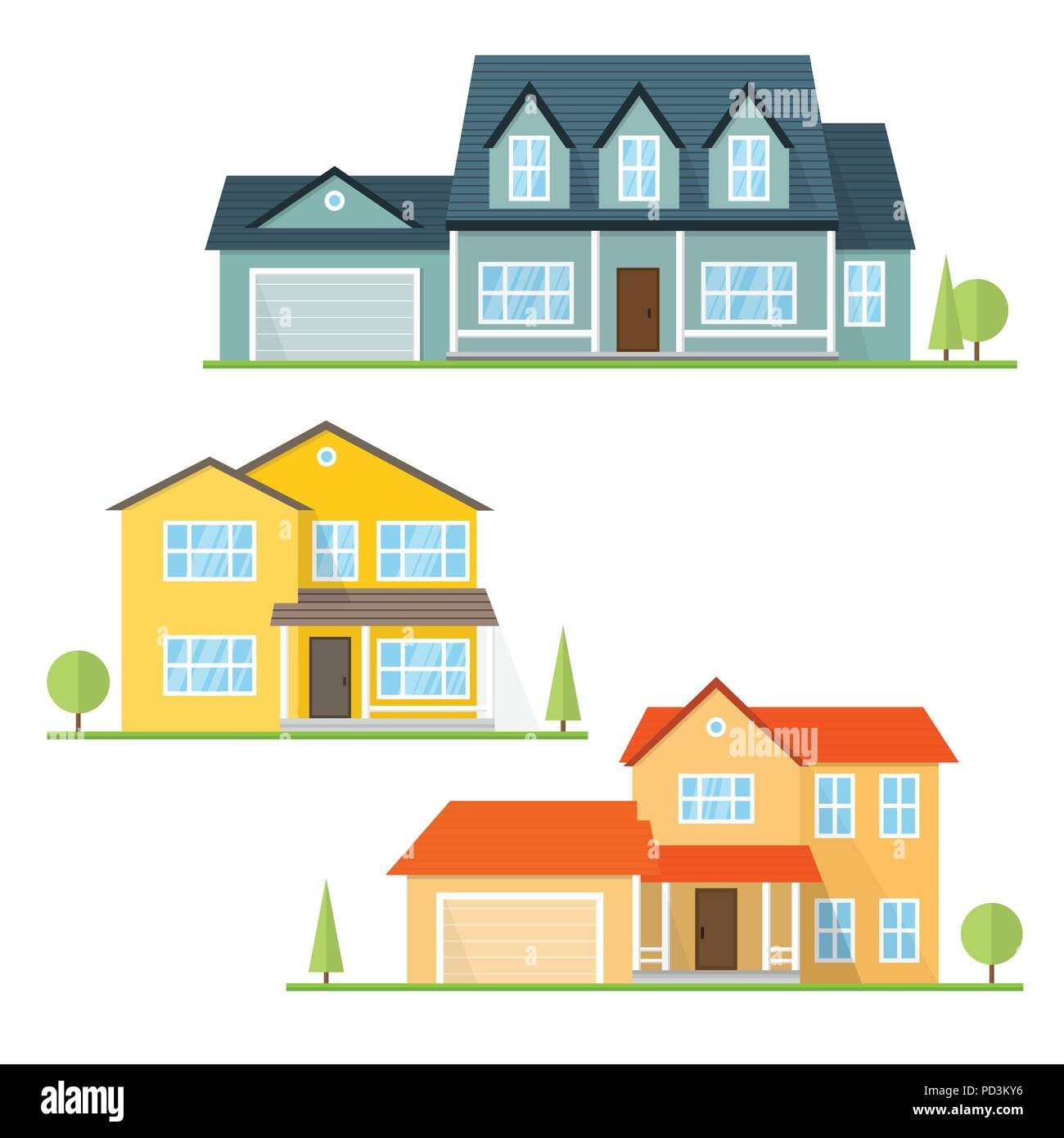 Vector flat icon suburban american house for web design and application interface also useful for infographics family house icon isolated on white