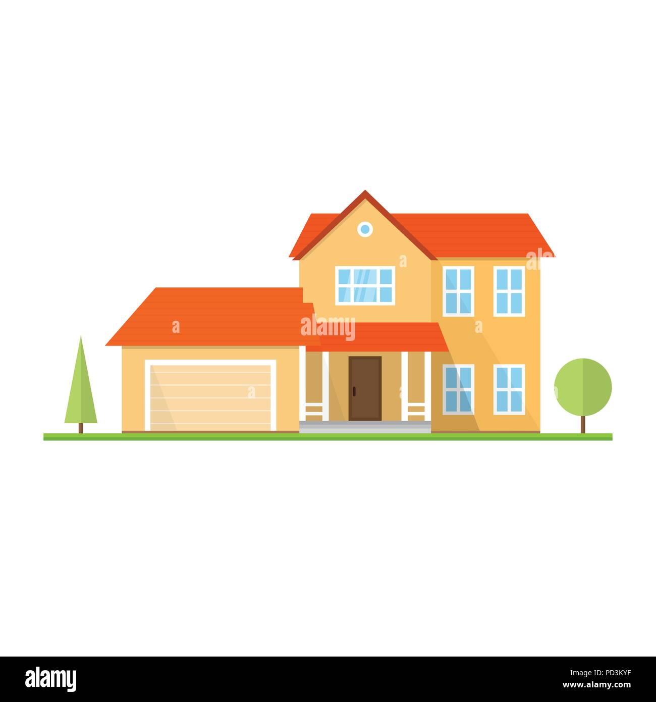 vector flat icon suburban american house for web design and