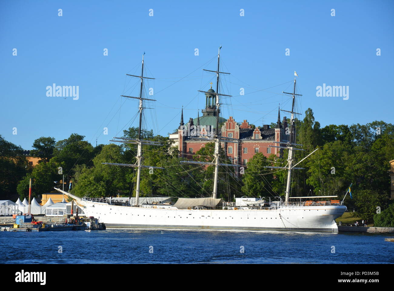 AF Chapman, a fully rigged steel ship, moored at Skeppsholmen, Stockholm, Sweden Stock Photo