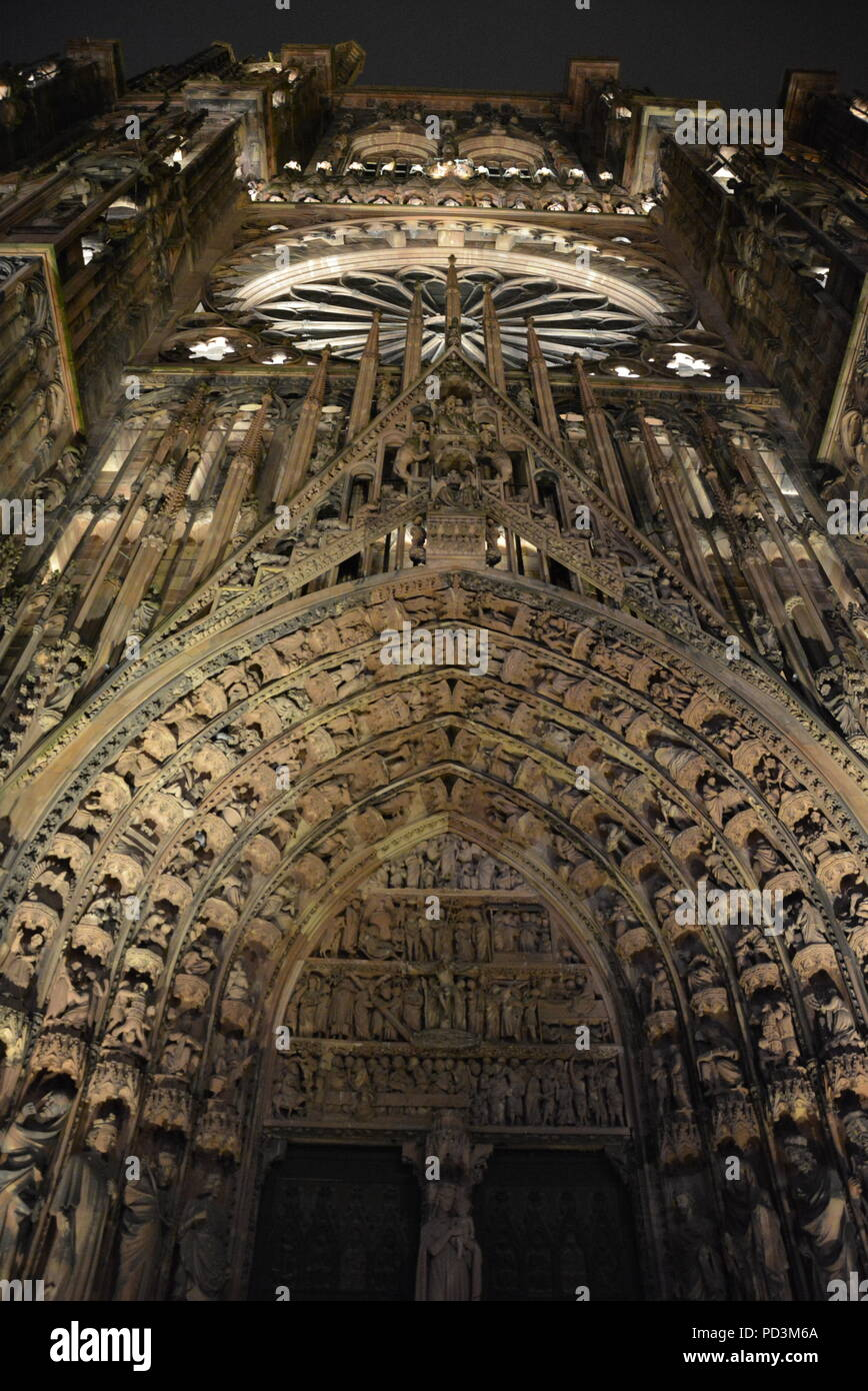 A wonderful view of the lighting at Strasbourg cathedral - Stock Image