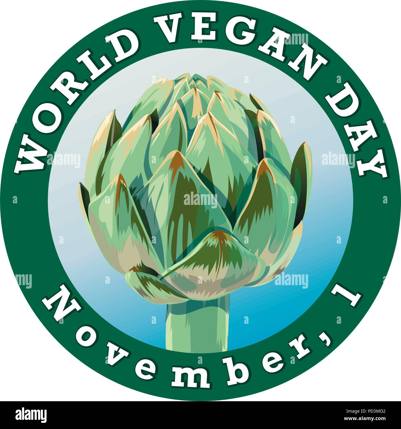 World vegan day. International november holiday. Poster with artichoke. Vector Illustrationy for posters, web sites, cards, t shirts, party decor - Stock Image