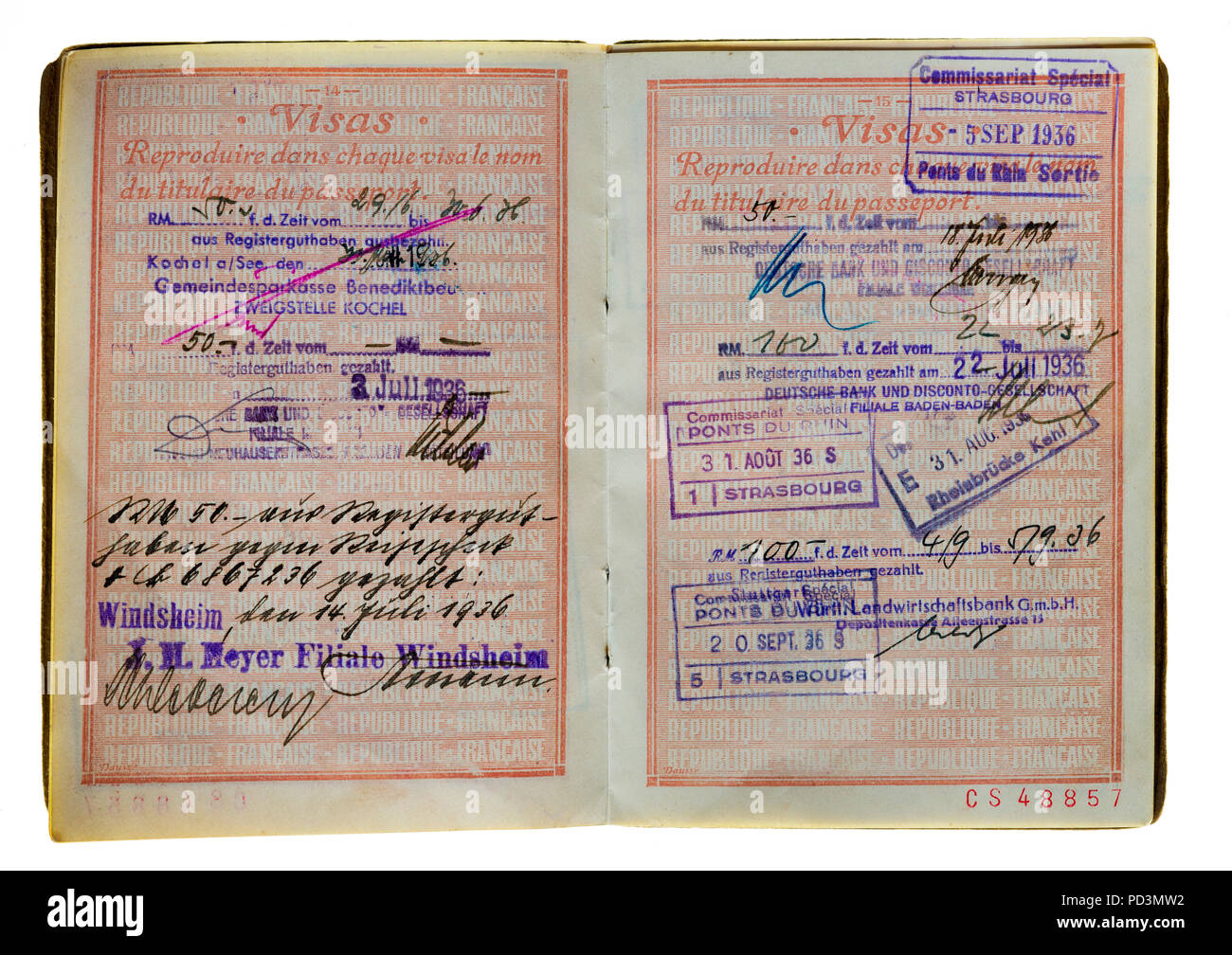 1935's vintage French passport, pages with 1936 German and French visas stamps marks, - Stock Image