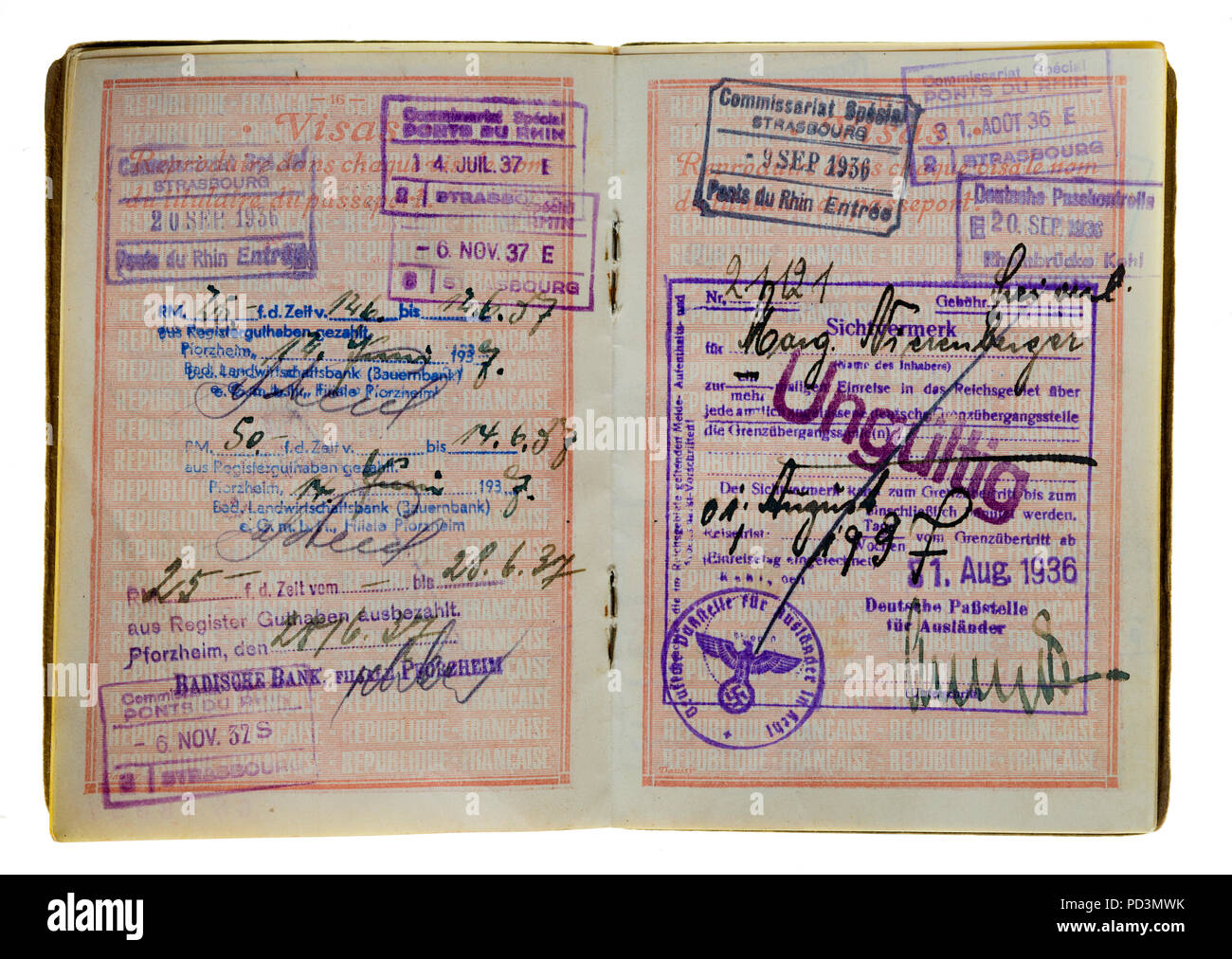 1935's vintage French passport, pages with 1936, 1937 German and French visas stamps marks, - Stock Image