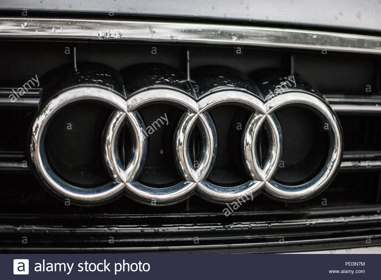 Munich Germany July 21 2018 Audi Rings On Car Front Grill With