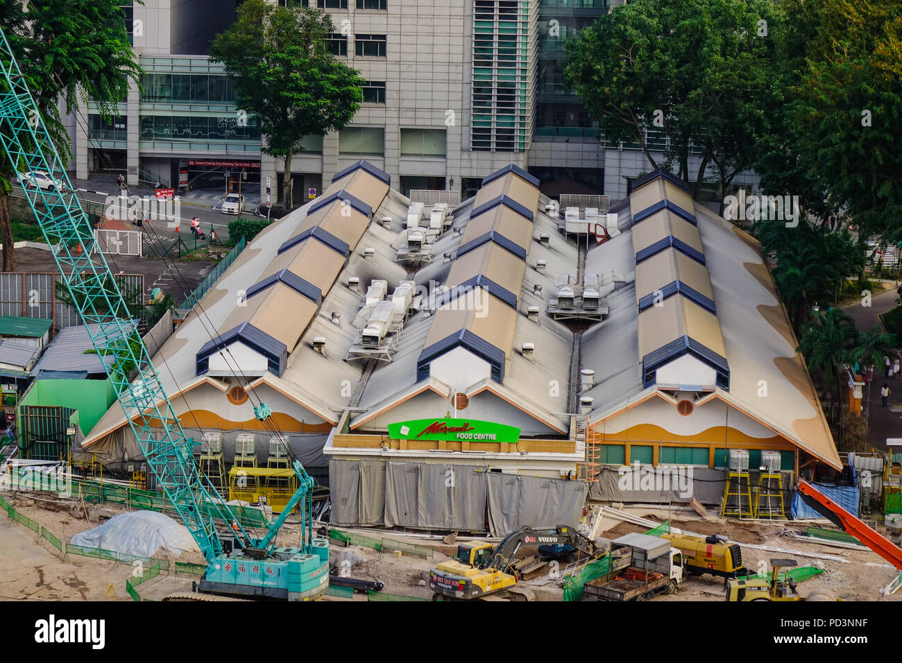 Singapore - Feb 9, 2018. Aerial view of warehouses at construction site in Singapore. Singapore is a sovereign city-state and island country in Southe - Stock Image