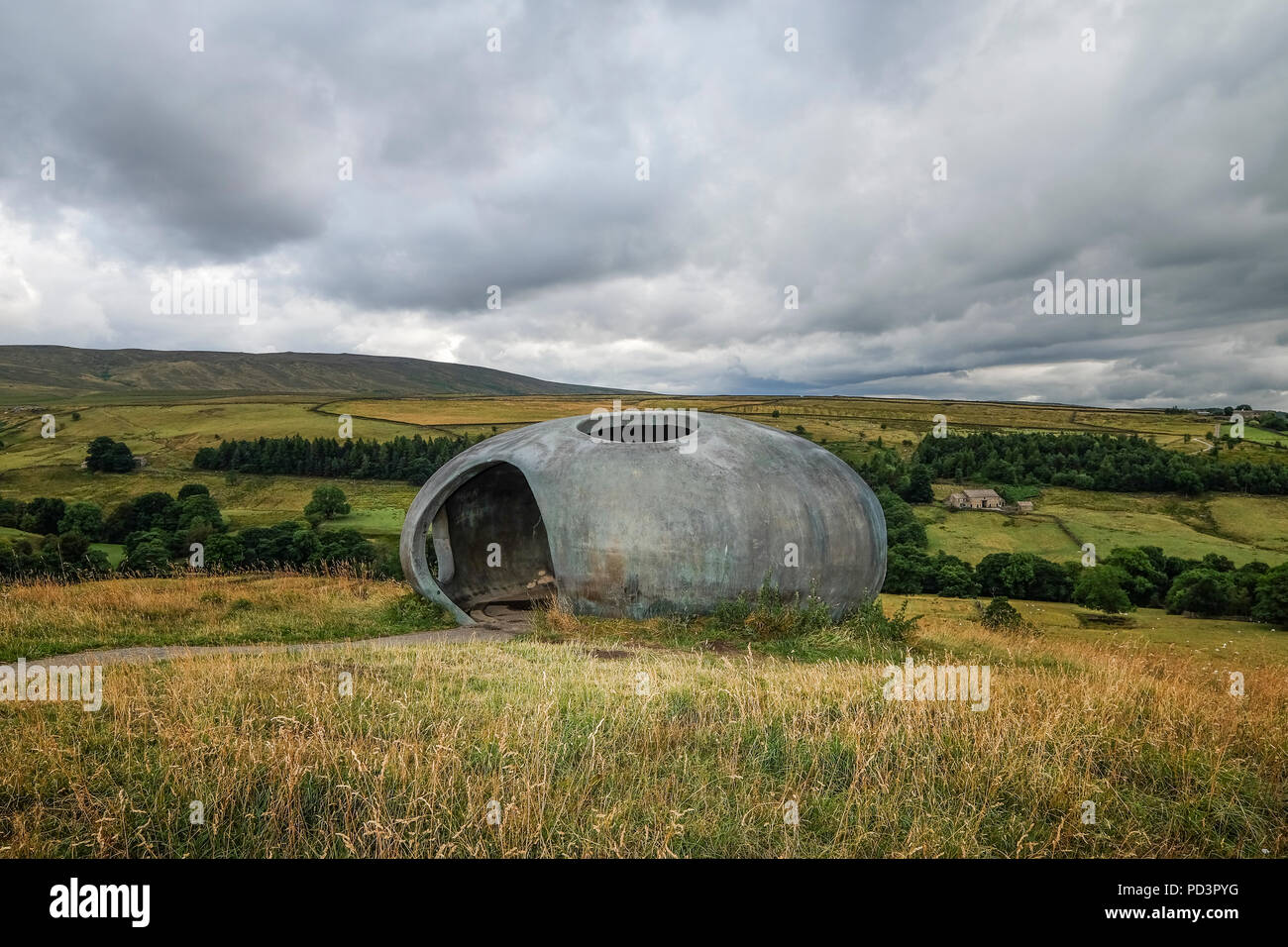 The Atom is one of a number of Panopticons in Lancashire. The Pendle Atom stands on the hillside above the village of Wycoller. - Stock Image