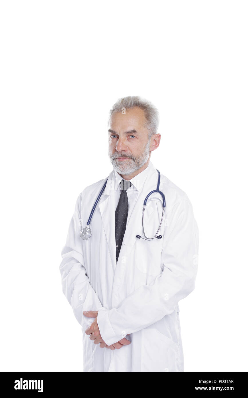 portrait of a senior physician therapist.isolated on light background Stock Photo