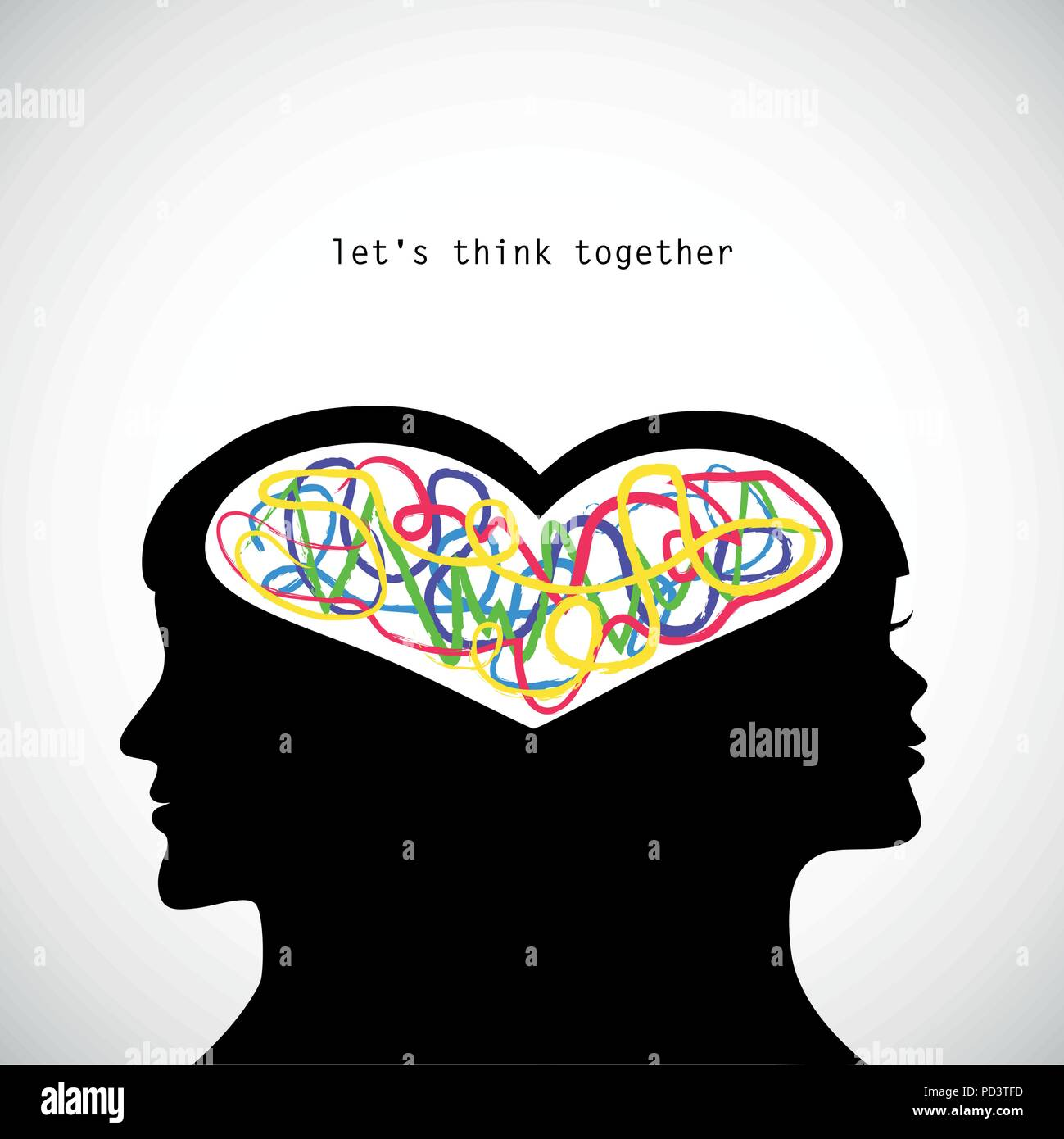 man and woman think together colorful vector illustration - Stock Image