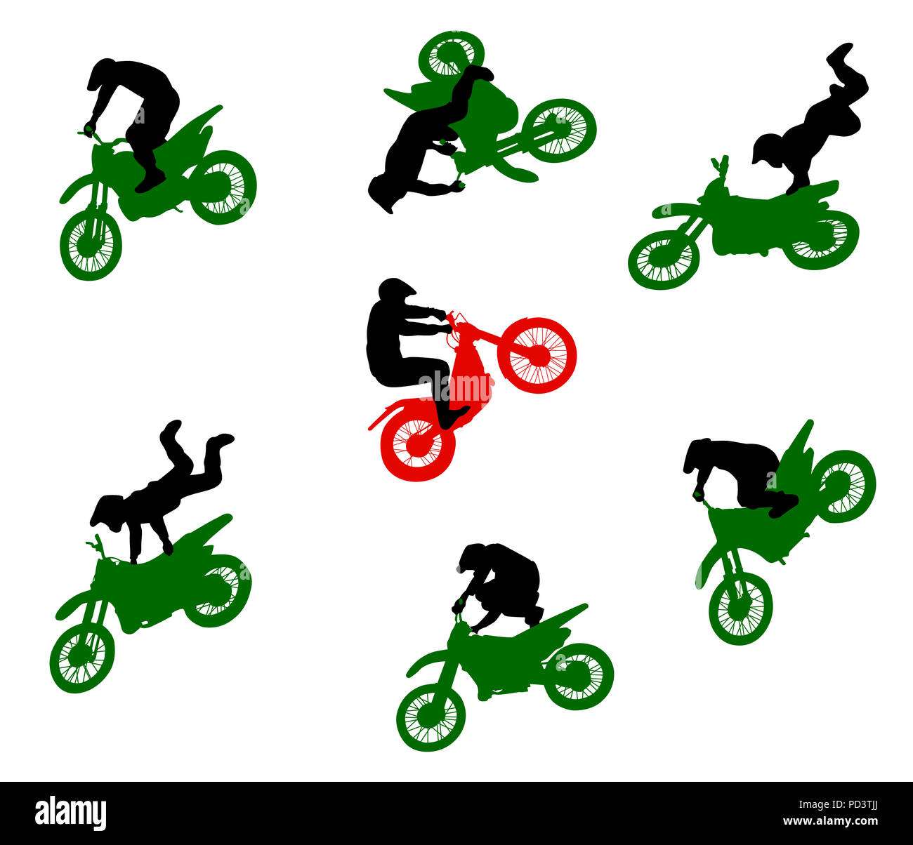 Silhouettes of stuntmen on motorcycles in flight. - Stock Image