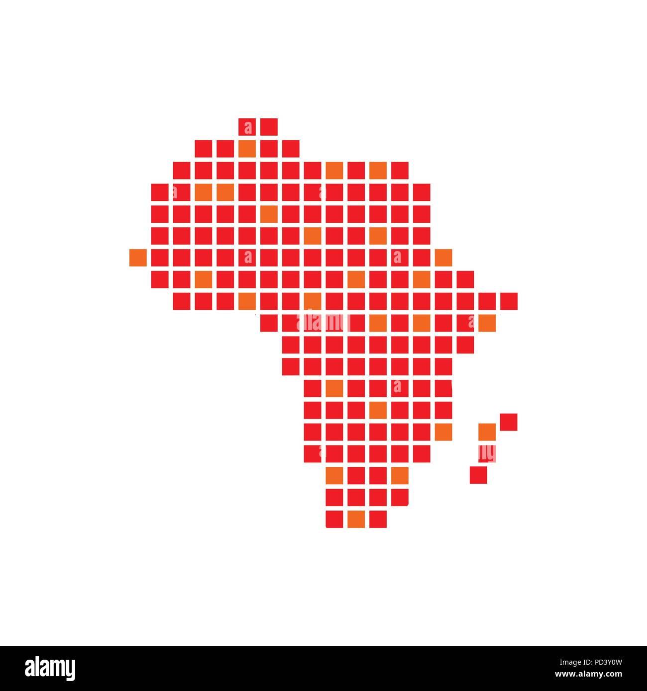 digitally africa red pixels vector symbol graphic logo design