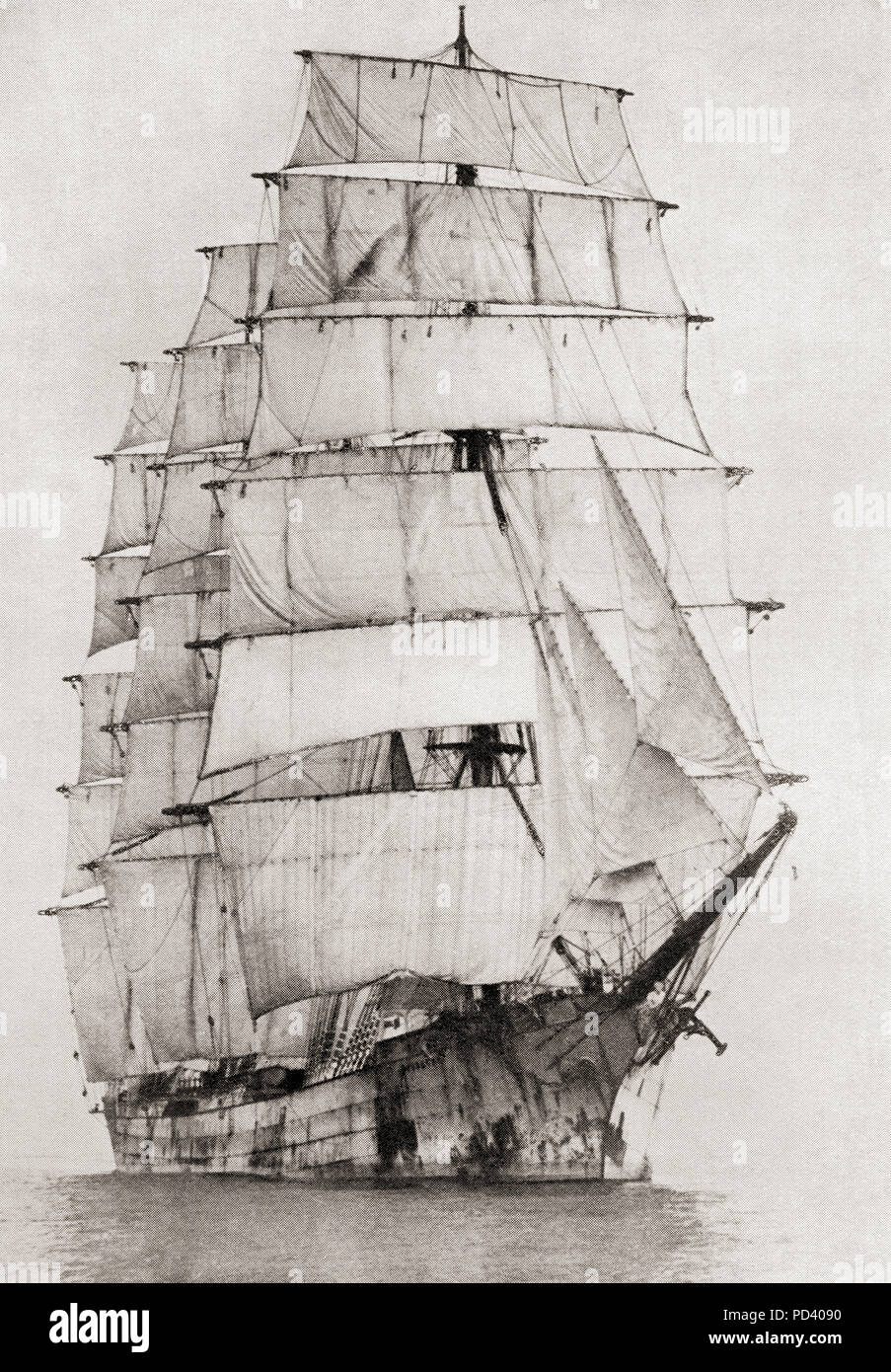 The Hougomont, a four-masted steel barque, setting sail from Falmouth, England.  From The Book of Ships, published c.1920. - Stock Image