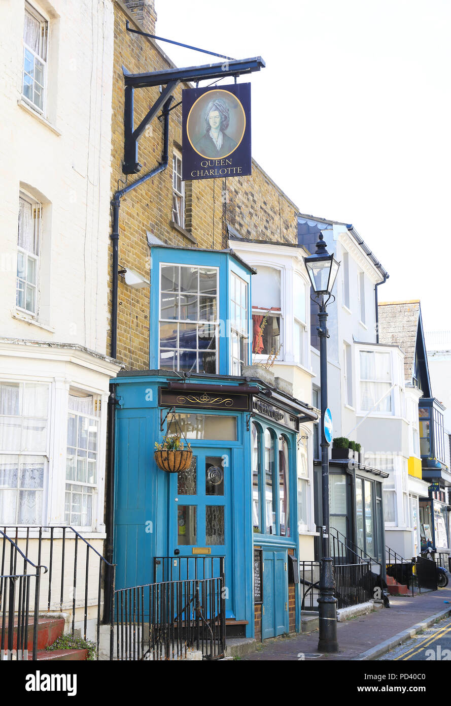 The historic buildings, and pubs of arty Addington Street, in the West Cliff conservation area, in Ramsgate, on the Isle of Thanet, Kent, UK - Stock Image