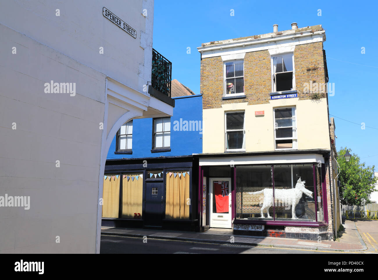 The historic buildings, and shops of arty Addington Street, in the West Cliff conservation area, in Ramsgate, on the Isle of Thanet, Kent, UK - Stock Image