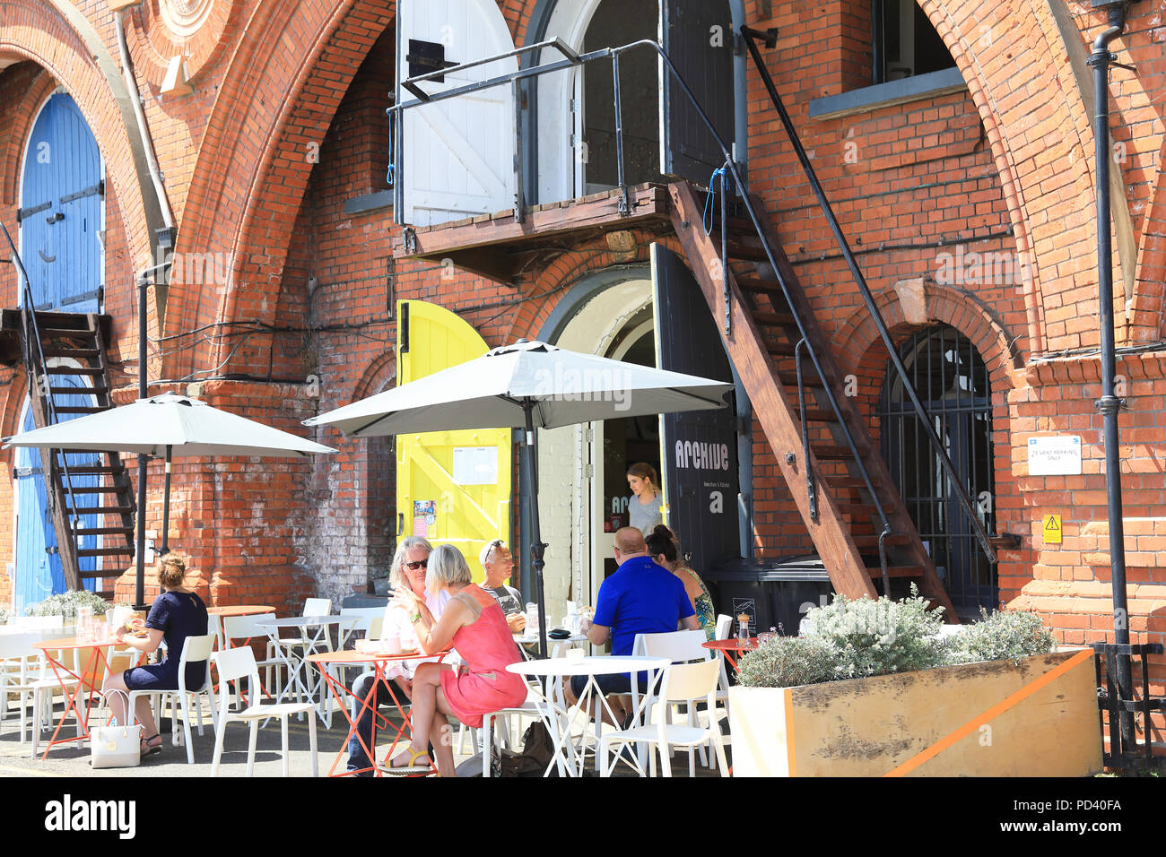 The Archive Homestore & Kitchen, a trendy lifestyle store and cafe, in a converted Victorain arch, in Ramsgate, on the Isle of Thanet, Kent, UK - Stock Image
