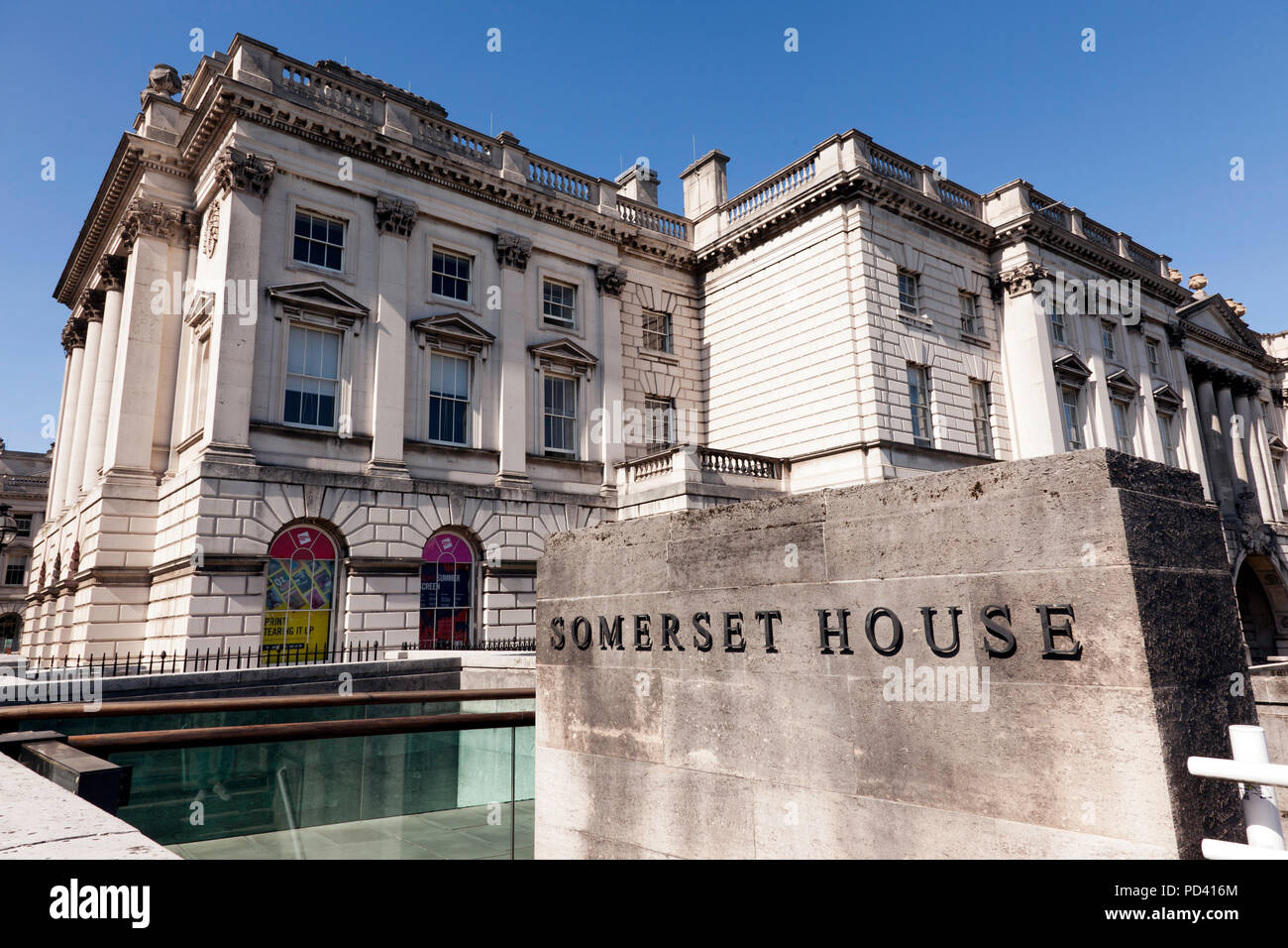 View of  the Western end of Somerset House at the northern side of Waterloo Bridge, on the Victoria Embankment, London - Stock Image
