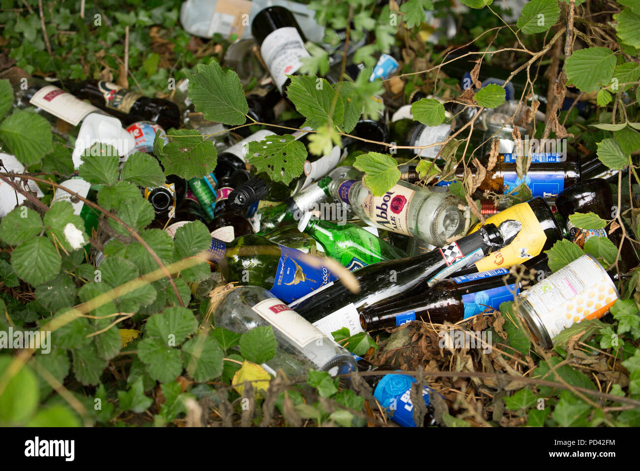 Glass bottles and other rubbish dumped next to a lay by near the village of Silverdale in Lancashire North West England UK GB - Stock Image