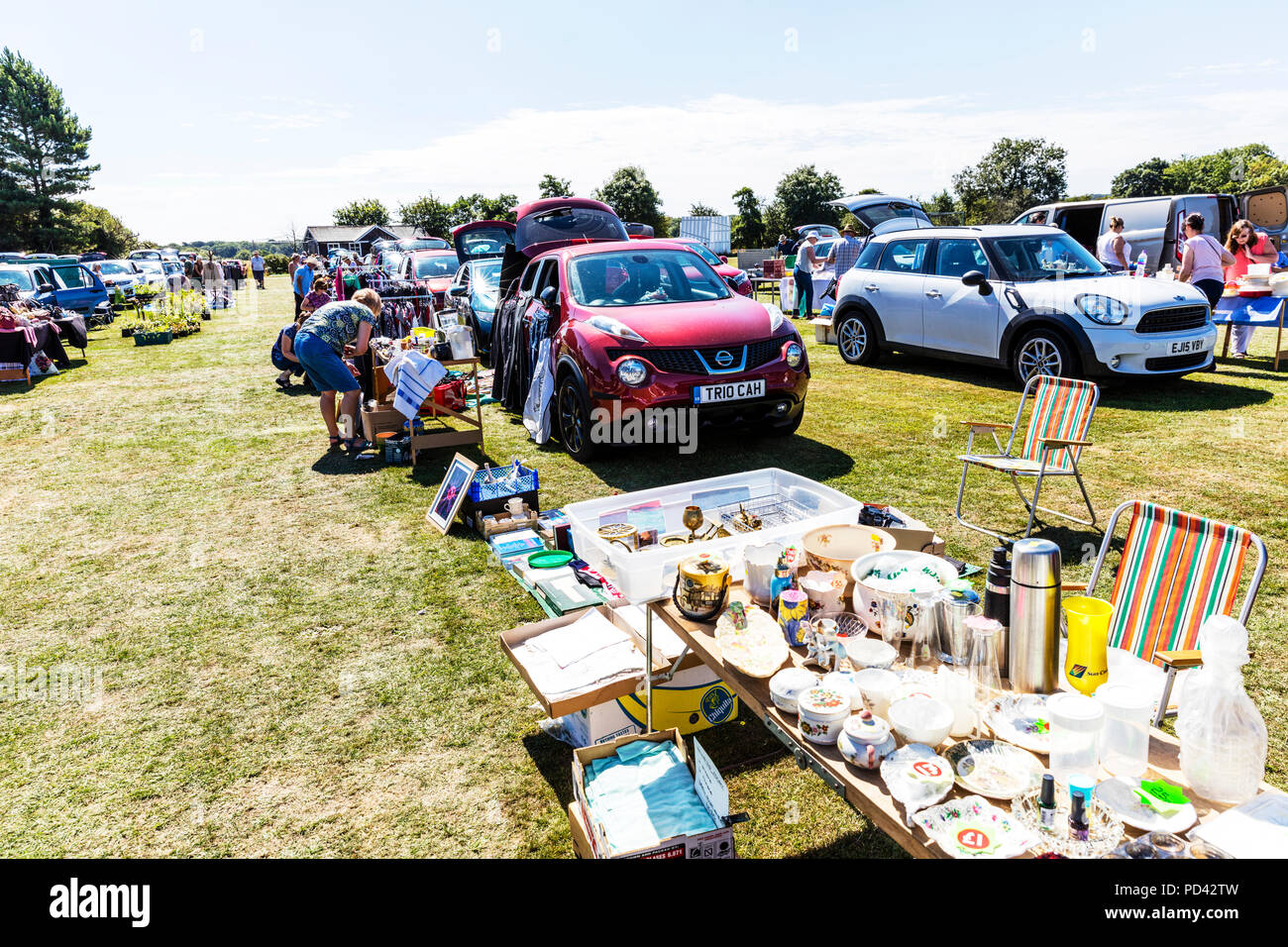 Car Boot, car boot sale, car boot sales, boot sale, boot sales, selling junk, stall, car boot stalls, car boot stall, car boot, sale, sales, UK, - Stock Image